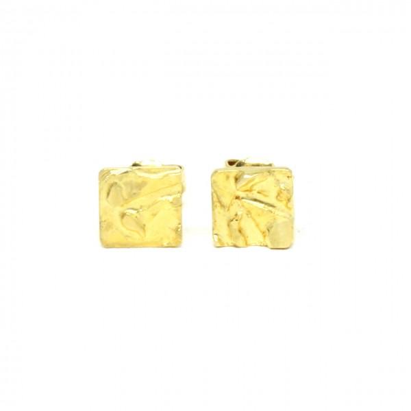 Ohrstecker 585 Gelbgold Nugget quadratisch