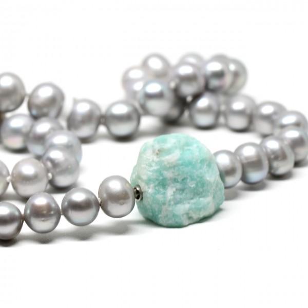 Wechselkette Perlen grau 9 - 10 mm