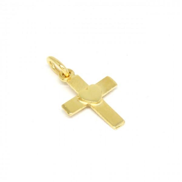 Anhänger Kreuz in 333 Gelbgold mit Herz