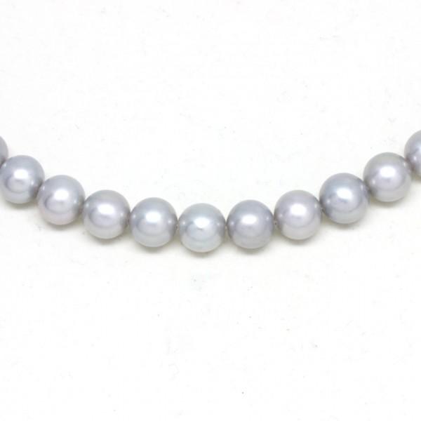 Wechselkette Perlen hellgrau klein