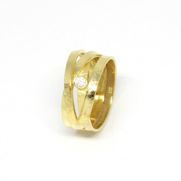 Ring Seidenmatt in 333 Gelbgold mit Zirkonia
