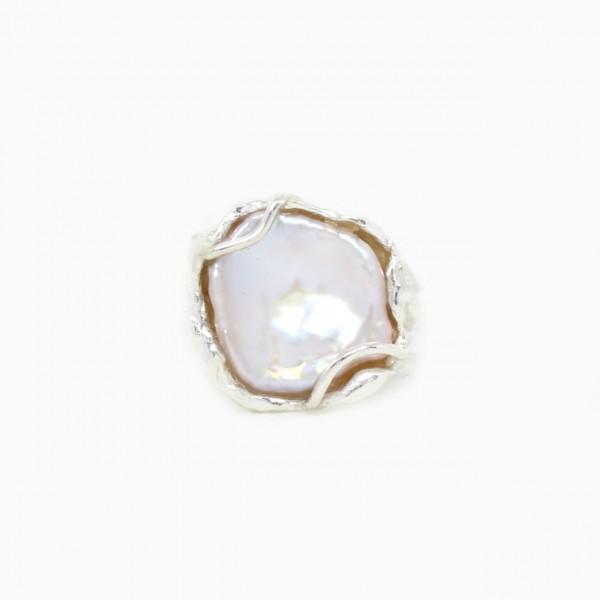Silberring Handarbeit mit Perle