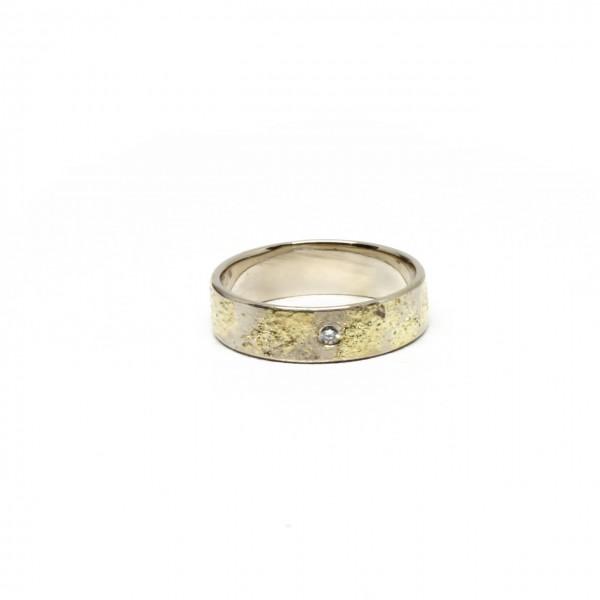 Trauringe Handarbeit 585 Weißgold mit 750 Gelbgold