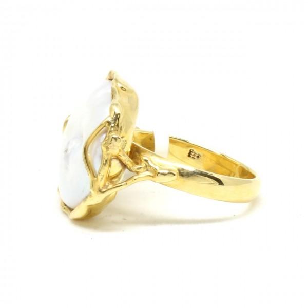Ring in 333/- Gelbgold mit Süßwasserperle