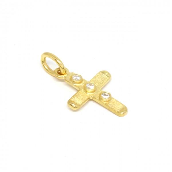 Anhänger Kreuz in 333 Gelbgold mit drei Zirkonia