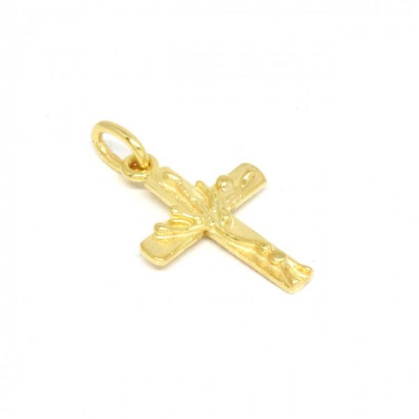 Anhänger Kreuz in 333 Gelbgold mit Baum