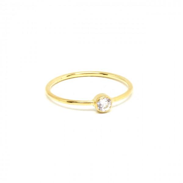 Ring in 333 Gelbgold schmal mit Zirkonia