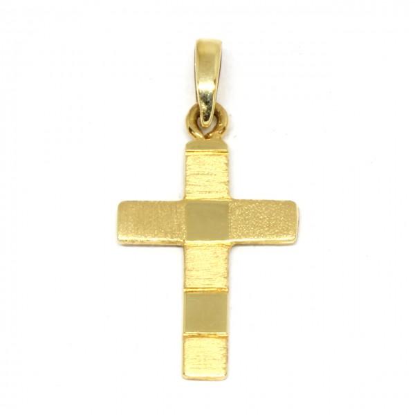 Anhänger Kreuz in 585 Gelbgold Handarbeit