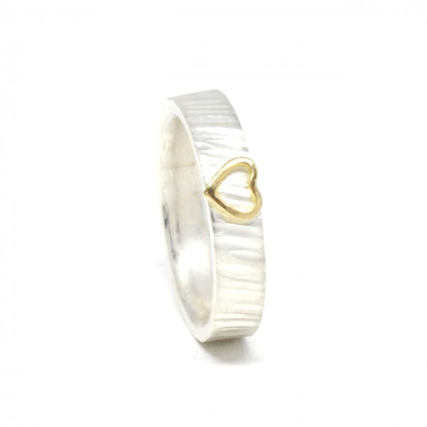Ring in 925 Sterlingsilber mit 750 Gelbgold Herz