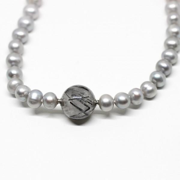 Wechselkette Perlen grau