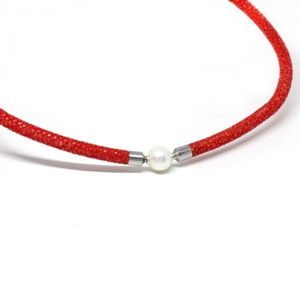 Wechselkette Rochenleder rot 5 mm