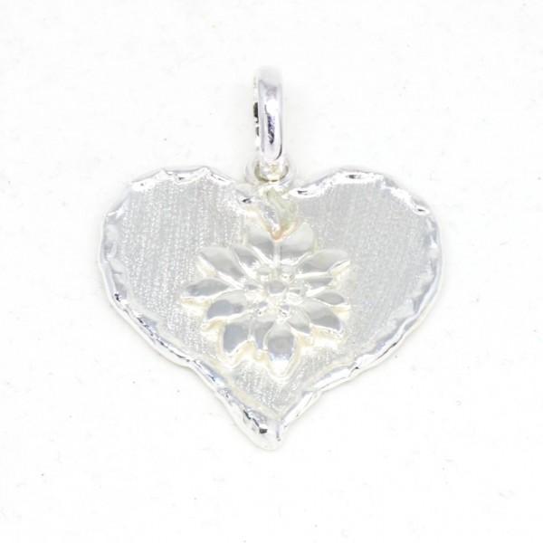 Silberanhänger Herz mit Edelweiß