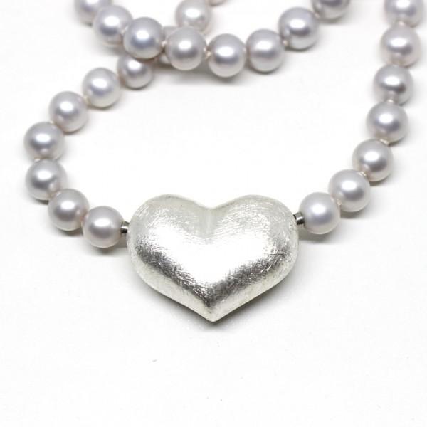 Wechselschließe Herz in Silber mattiert