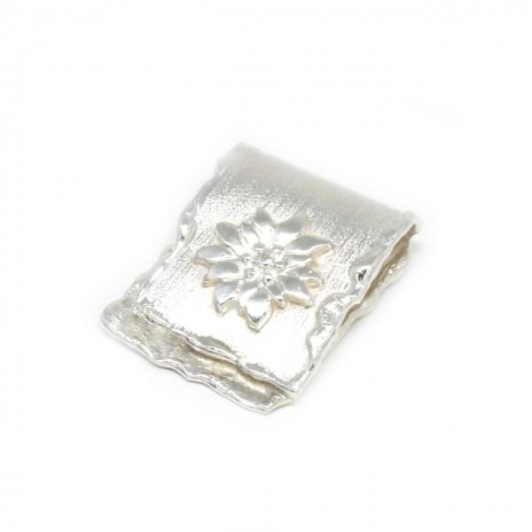 Wechselschließe Edelweiß in Silber handgemacht
