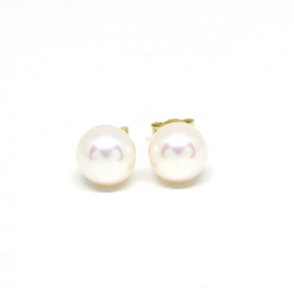 Ohrstecker 585 Gelbgold Perle 8,5 - 9 mm