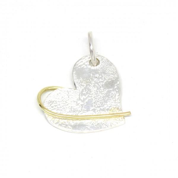 Silberanhänger Herz mit Struktur und 750 Gelbgold
