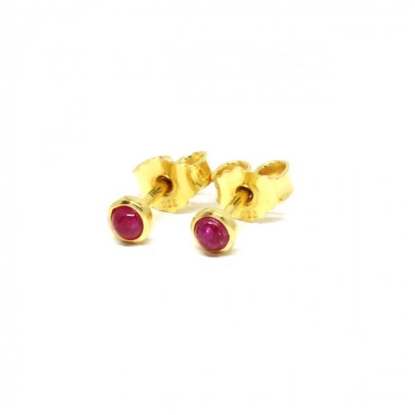 Ohrstecker 585 Gelbgold mit Rubin
