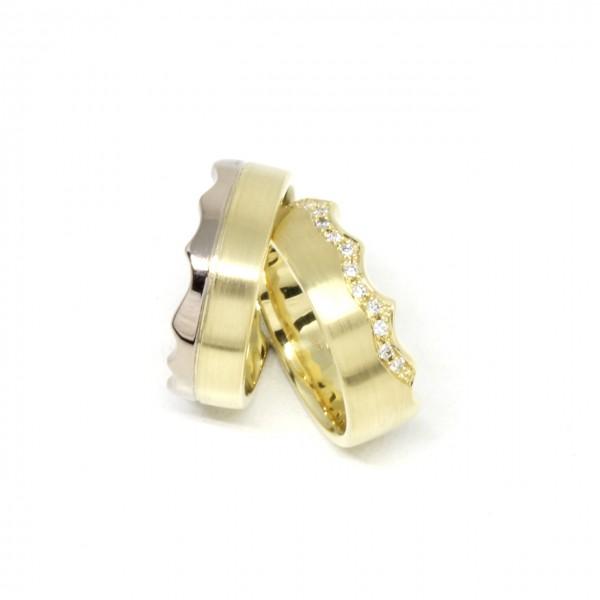 Trauringe Handarbeit 585 Gelbgold Krone
