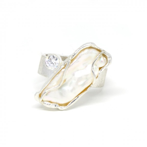 Silberring Handarbeit mit Perle und Zirkonia