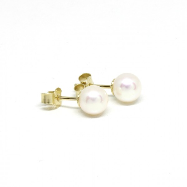Ohrstecker 585 Gelbgold Perle 6,5 - 7 mm