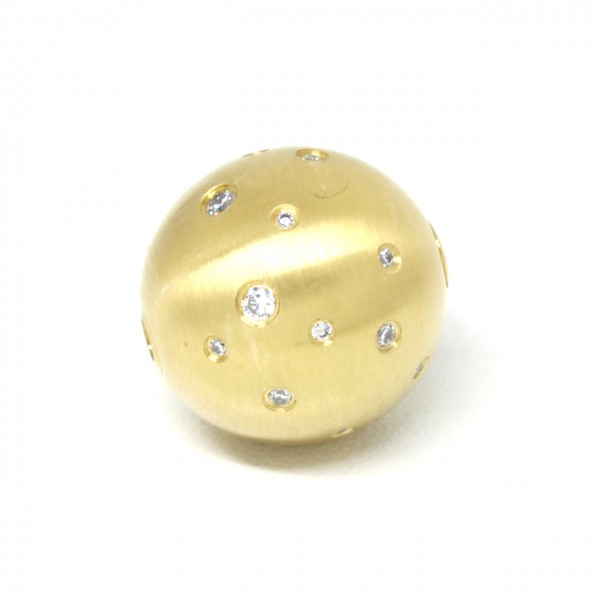 Wechselschließe Edelstahlkugel 18 mm vergoldet mit Zirkonia