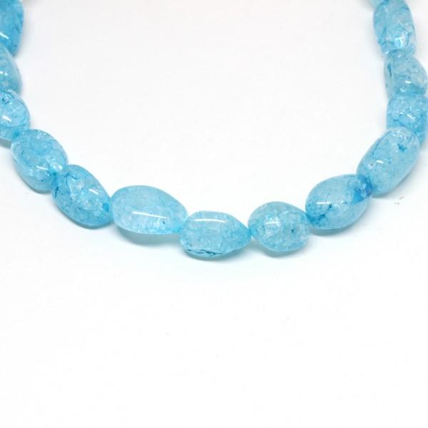 Wechselkette Bergkristall eisblau 38 cm