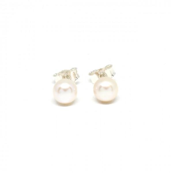 Ohrstecker Silber Perle weiß 6 - 6,5 mm