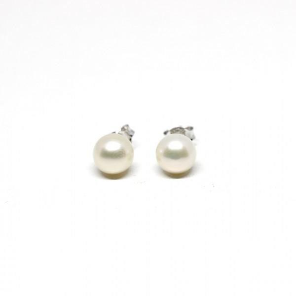 Ohrstecker Silber Perle weiß 4,5 mm