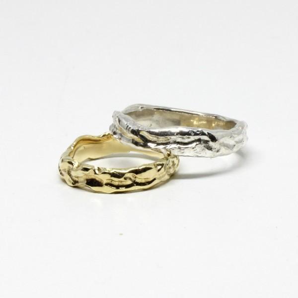 Trauringe Handarbeit Silber und 333 Gelbgold