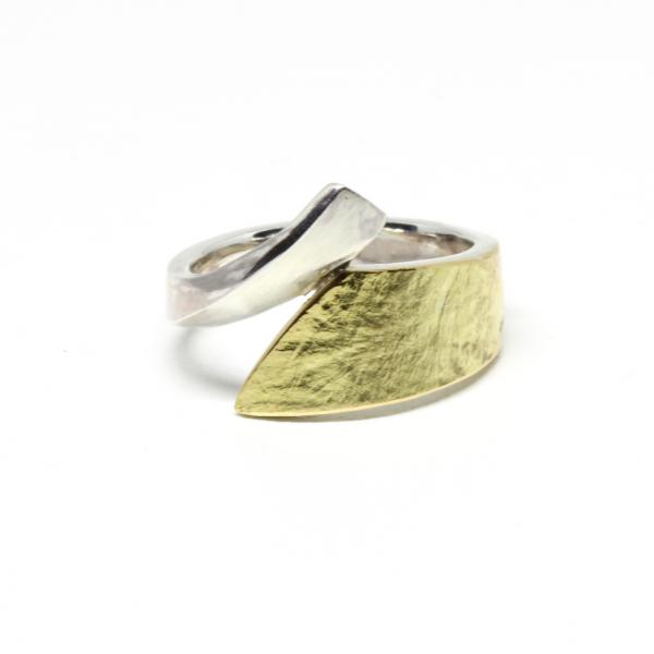 Silberring mit 750 Gelbgold