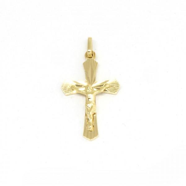 Anhänger Kreuz in 585 Gelbgold mit Herrgott