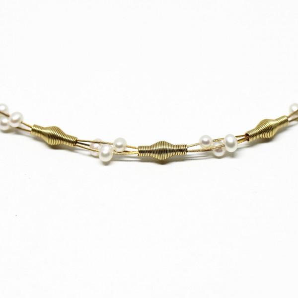 Collier 333 Gelbgold mit Perlen