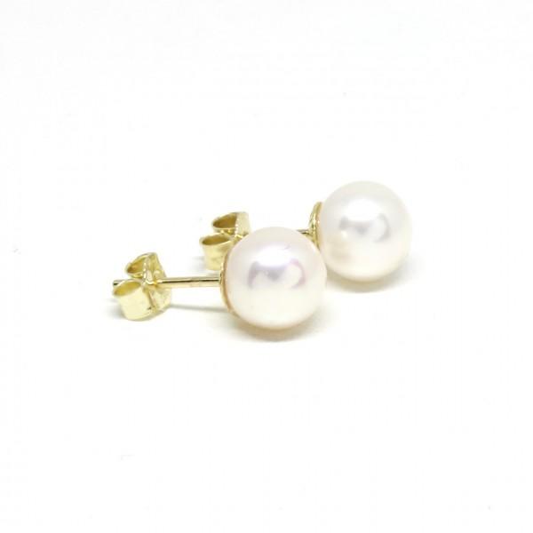 Ohrstecker 585 Gelbgold Perle 8 - 8,5 mm