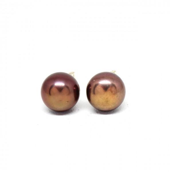 Ohrstecker Silber Perle braun