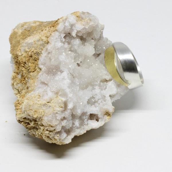 Silberring mit 750 Gelbgold Schwung