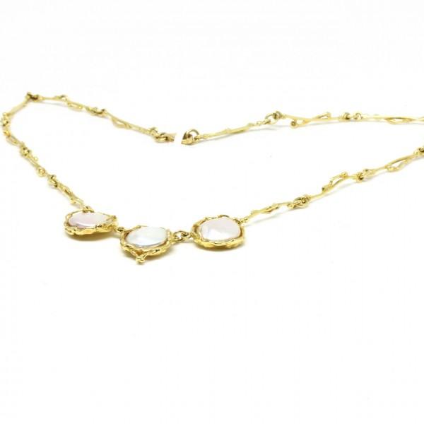 Collier 585/- Gelbgold mit Perlen