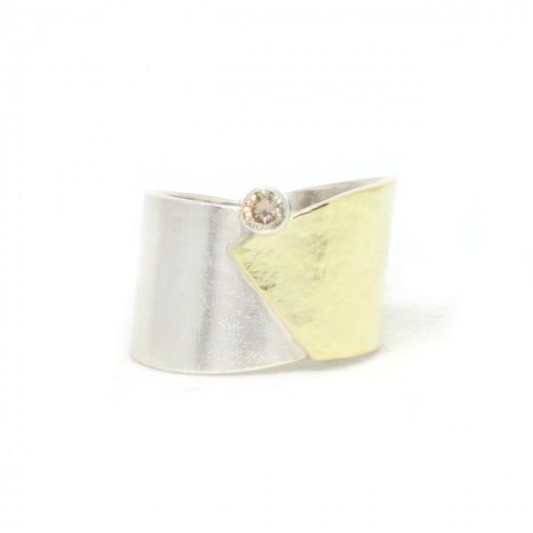 Silberring Bicolor mit Diamant