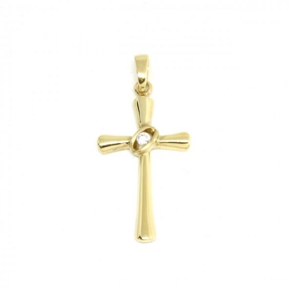 Anhänger Kreuz in 333 Gelbgold mit kleinem Zirkonia