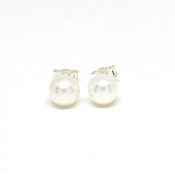Ohrstecker Silber Perle weiß 7 - 7,5 mm