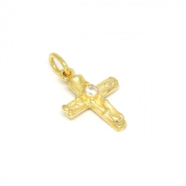 Anhänger Kreuz in 333 Gelbgold mit einem Zirkonia
